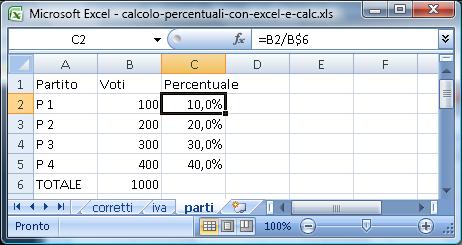 Percentuale dei voti validi dei partiti alle elezioni (con Excel)