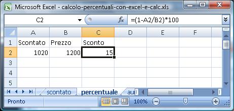 Calcolo delle percentuali in Excel