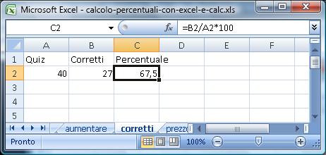 Come si calcolano le percentuali con Excel