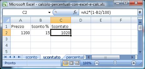 Calcolo della percentuale con Excel
