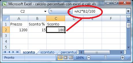Calcolo di percentuale con Excel