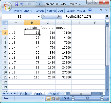 Uso di fogli di lavoro in Excel: secondo foglio