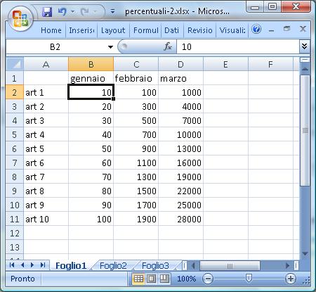 Uso di due fogli di lavoro in Excel: primo foglio