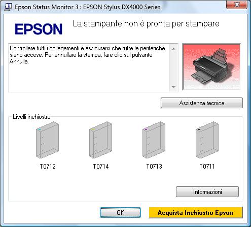 Finestra di diaologo Epson Stylus DX4000: parla del pulante Annulla, che non c'è
